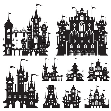 castle vector shapes in black.  イラスト・ベクター素材