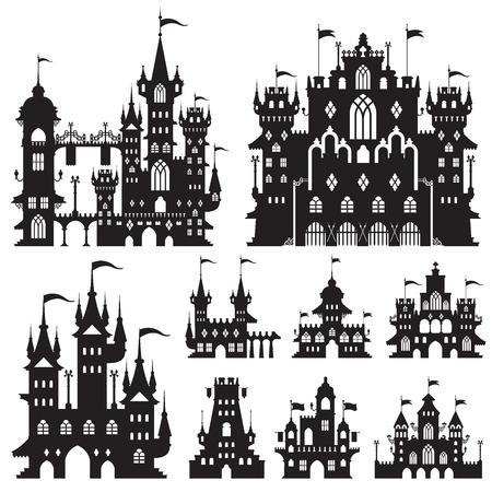 art door: castle vector shapes in black. Illustration
