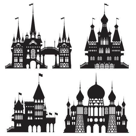 castle vector shapes in black. Illustration