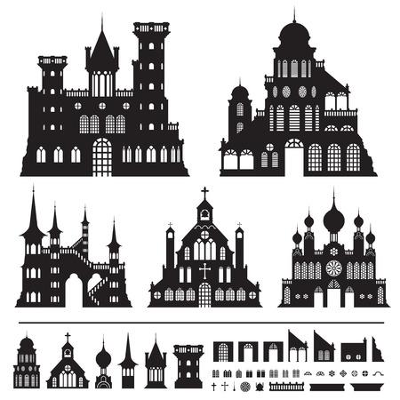 castle vector shapes in black.