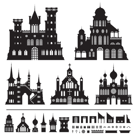 castle vector shapes in black.