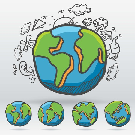 Vector of Earth drawing cartoon style suitable change side of earth