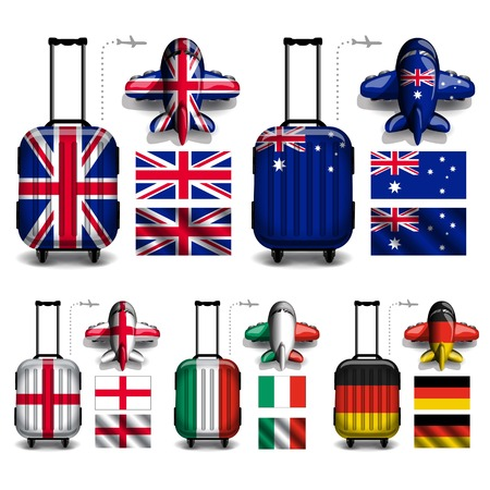 jack plane: Vector of Flag Luggage Trolley Bag & Plane with glossy dimension style. Suitable for element to design brochure, website about travel business and other media