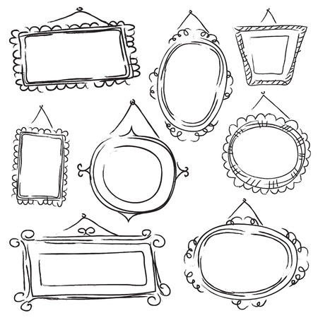 black picture frame: Ideal to be used to decorate walls, wallpaper or other media. Illustration