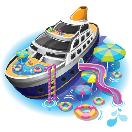 Travel Cruise vector with water park funny for vacation. Vector can be split up into several pieces, such as Cruise, water park and Sea
