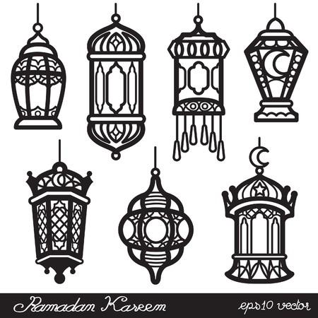 Ramadan Kareem Lantern Black Vector