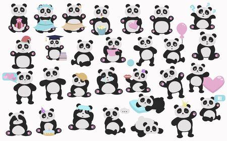 Set of cute vector pandas. Cartoon pandas illustration.