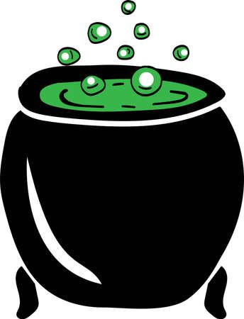 Black cauldron with green magic potion