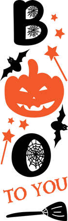 Halloween Welcome lettering. Witch symbol. Vertical halloween sign. Front Porch Sign Boo