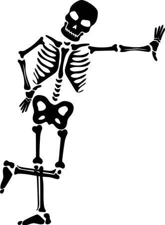 Friendly skeleton silhouette vector. Halloween 일러스트
