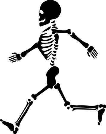 Running skeleton silhouette vector. Halloween 일러스트