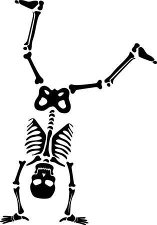 Skeleton doing somersault silhouette vector. Halloween