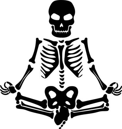 Skeleton meditates silhouette vector. Halloween