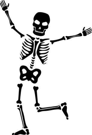 Cheerful skeleton silhouette vector. Halloween