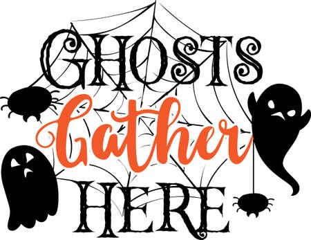 Ghosts gather here quote ghost and cobweb vector Ilustración de vector