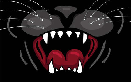 Panther mouth illustration background.
