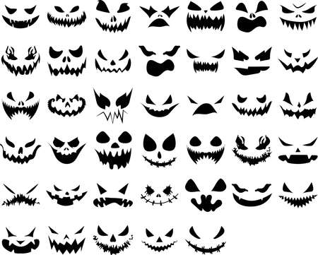 Halloween face icon set. Design for the holiday Halloween