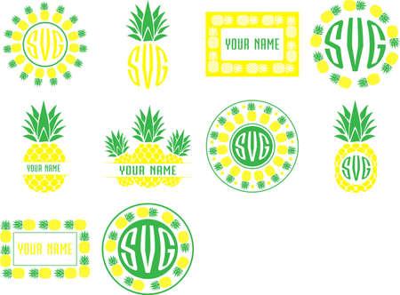 Monogram frames pineapple set vector