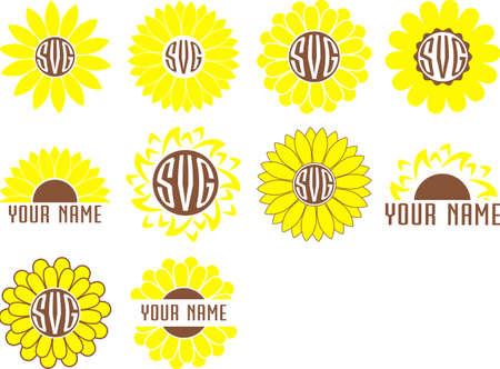 Monogram frames sunflower set vector