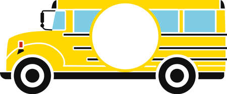 School bus with circle monogram frame typography illustration Ilustracja