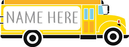 Yellow school bus with monogram frame typography illustration