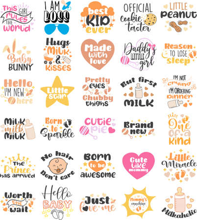 Set of vector prints inscription about family, baby born and birthday party