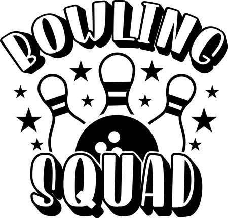 Bowling squad quote. Bowling ball and pins Stock fotó - 157535725