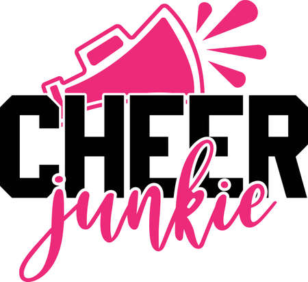 Cheer junkie vector saying. Cheerleading illustration. Ilustración de vector