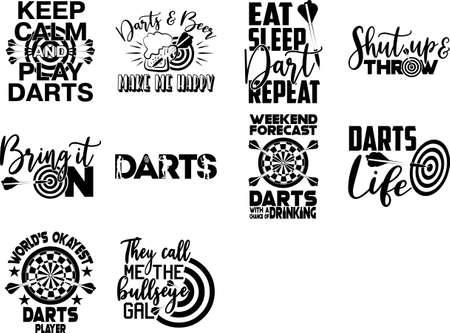 Set os Darts quotes. Darts vector Vector Illustration