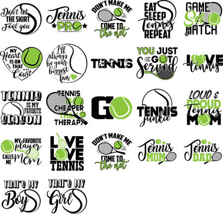 Set of tennis quotes. Tennis player, racket, ball vector Illustration