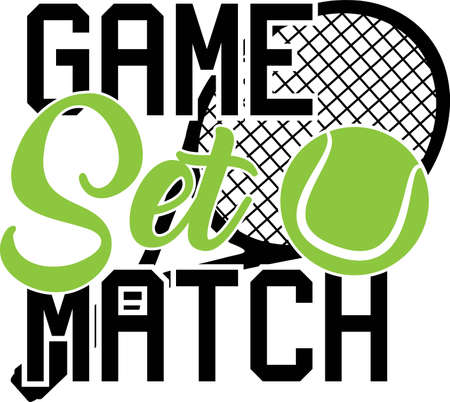 Game set match quote. Tennis ball vector Illustration