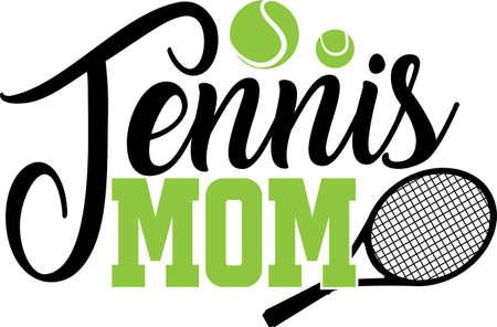 Tennis mom quote. Tennis ball, tennis racket vector