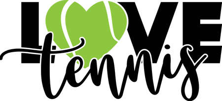 Love tennis quote. Tennis ball vector