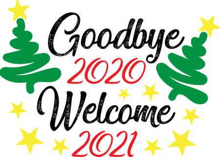 Goodbye 2020 Welcome 2021 Vettoriali