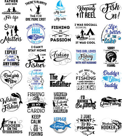 Collection of Fishing phrases, slogans or quotes