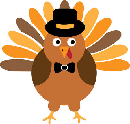 Thanksgiving Turkey Bird with hat. Turkey Bird Vector Illustration