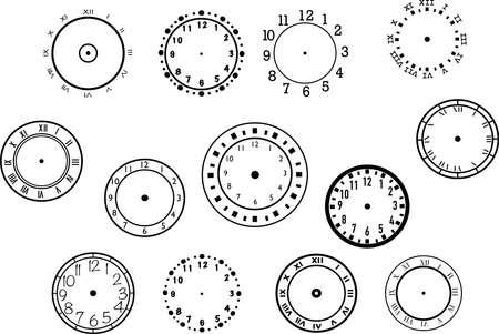 Set of clocks icons. Round black timer icons