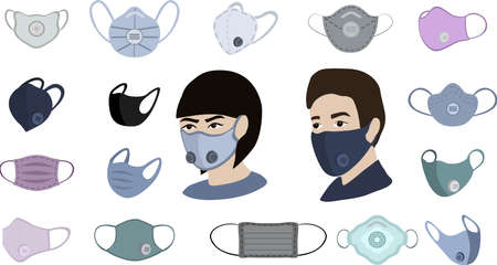Colorful air face mask isolated, for man and woman medical mask vector illustration