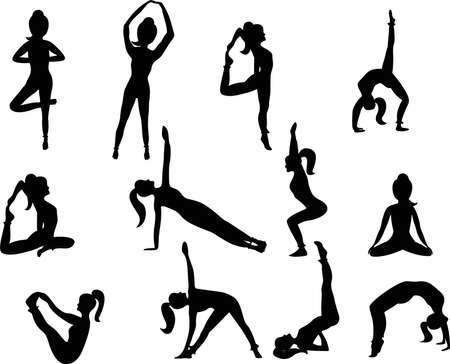 Set of Yoga Positions. Silhouettes of a woman in Yoga Positions Illustration