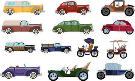 Set of cartoon colored Vintage cars. Flat style classic cars set