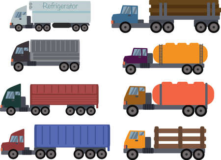 Set of cartoon colored Trucks and trailers on a white background Ilustración de vector