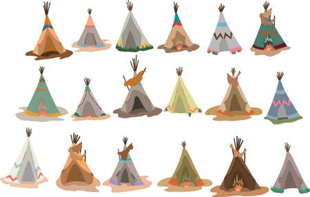 Set of Native american tipis with traditional indian decoration