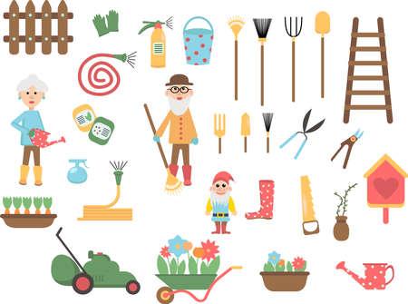 Set of Cartoon gardening tools. Equipment for garden Ilustração