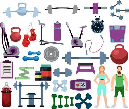 Set of gym equipment and training body gym sport equipment. Fitness sport gym Illusztráció