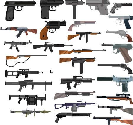 Set of cartoon colored gun icons, machine gun icons Vector Illustration