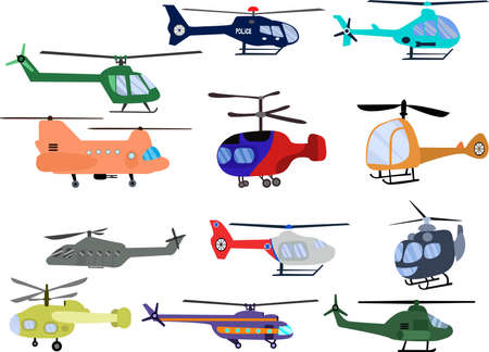 Set of helicopters. Different kind of aircrafts illustration