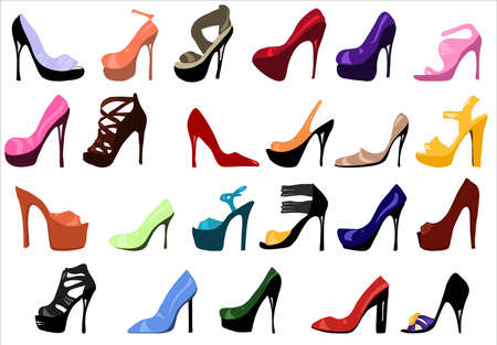 High heels. Set of Womens shoes vector flat fashion design