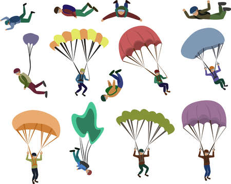 Set of skydiver flying with a parachute, extreme sport Vecteurs