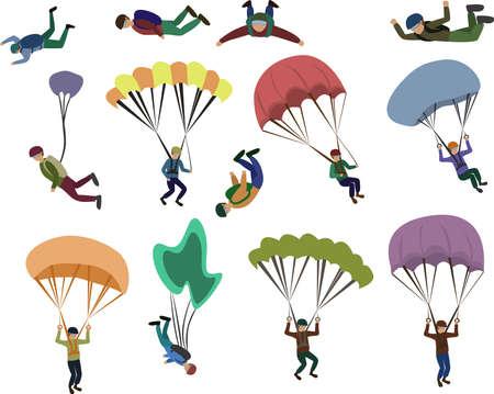 Set of skydiver flying with a parachute, extreme sport Ilustração Vetorial