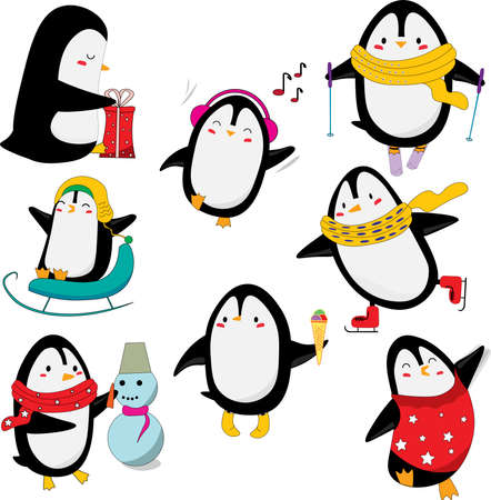 Set of cute penguins having fun, isolated on white background